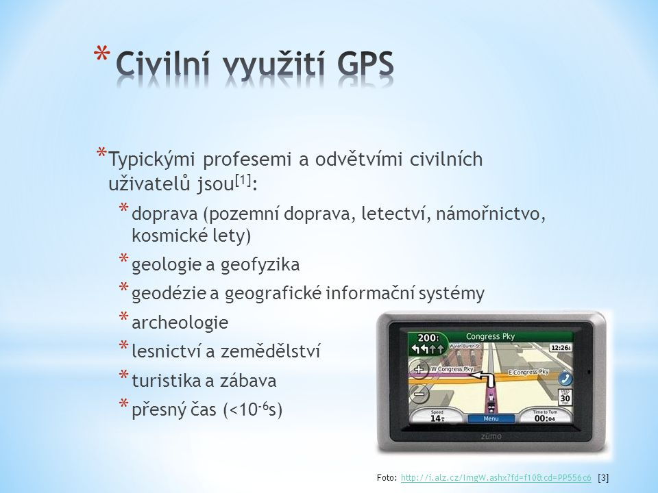 Civilní využití GPS Typickými profesemi a odvětvími civilních uživatelů jsou[1]: doprava (pozemní doprava, letectví, námořnictvo, kosmické lety)